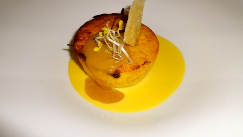Onion Pie with Saffron and Parmigiano Cheese Fondue.