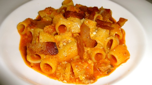 Rigatoni all'Amatriciana.