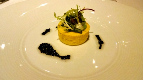 Yellow Corn Budino with Truffle Pearls.