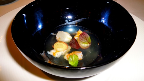 Grilled Spot Prawn, White Balsamic Dashi, and Basil.