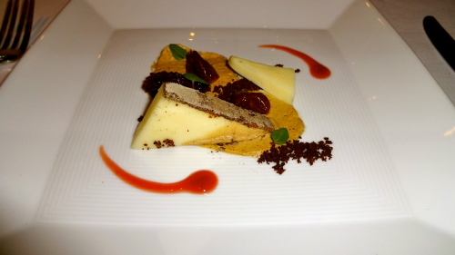 Sottocenere Cheese, Cocoa-espresso Crumb, and Brandied Cherries.