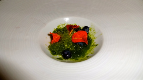 Nasturtium Granita, and Compressed Blueberries.