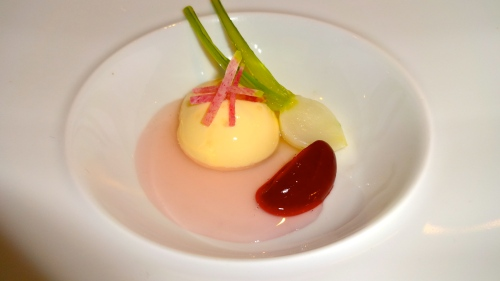 Rutabaga Custard, Turnip, Blackberry, Radish.