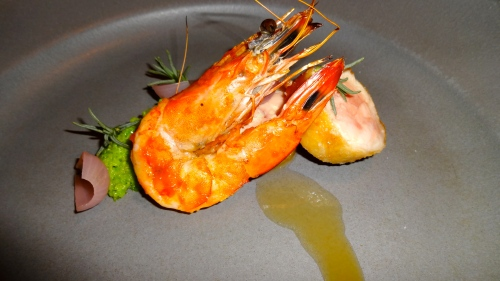 Quail, Shrimp, Fava, Onion.