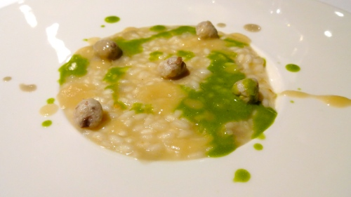Risotto of Freshwater and Seawater with Fish Balls and Chlorophyll.