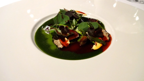 Snails with Beetroot, Chlorophyll, and Black Truffle.