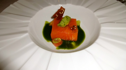 Cured Salmon on Parsley Coulis and Basil Sorbet.