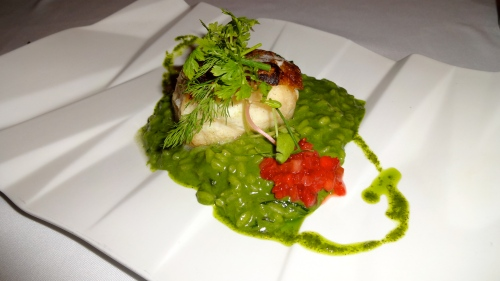 Chlorophyll and Lime Risotto with Fish.