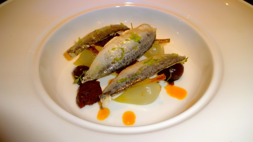 Crystallized Sardines with Sweet and Sour Vegetables.