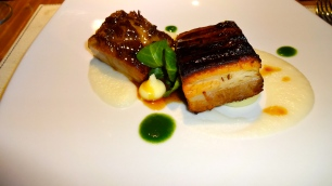Grilled Pork Belly on Cauliflower Sauce.