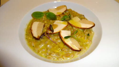 Risotto with Farro, Herb Pesto, and Mushrooms.