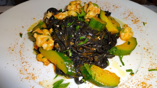 Squid Ink Pasta with Zucchini and Prawns.