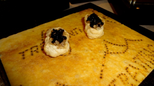 Grana Trentino Cheese Puffs with Balsamic Jelly.