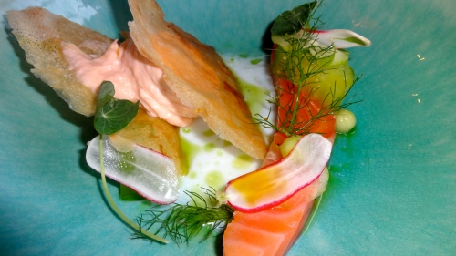 Earl Grey Tea Cured Salmon with Cucumber and Dill Oil.