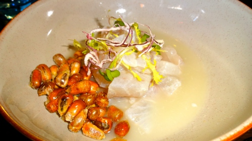 Sea Bream Ceviche with Cancha Corn.