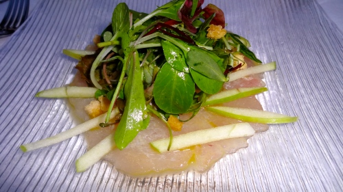 Amberjack Carpaccio with Green Apple.