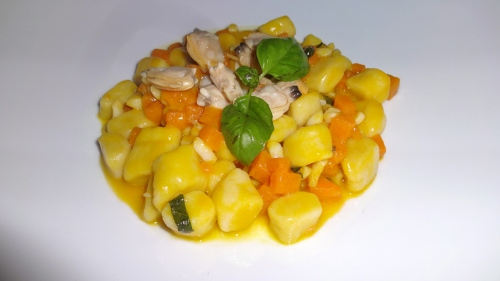 Gnocchi with Clams and Pumpkin.