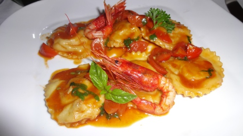 Ravioli Stuffed with Eggplant and Shrimp.