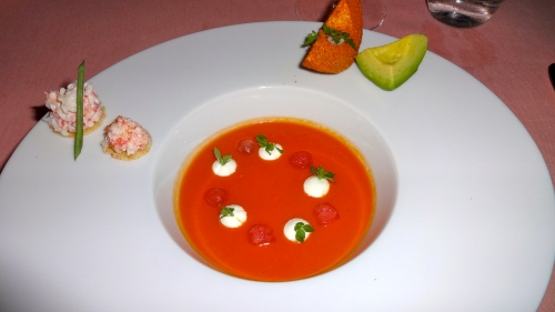 Tomato Soup with King Crab and Avocado.