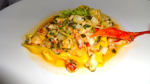 Lemon Tagliatelle with Lobster and Pistachios.