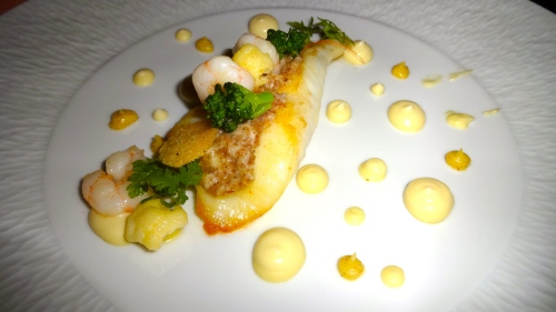 John Dory with Cauliflower Purée and Shrimp.