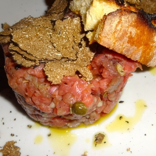 Beef Tartare with Black Truffles.