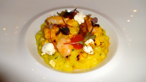 Tiger Prawn Risotto with Corn, Pancetta, and Calabrian Chili.