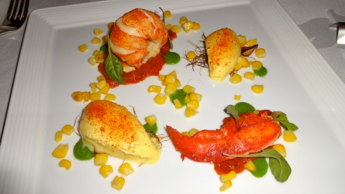 Lobster Tail with Smoked Butter, Corn Custard, Confit Tomato, and Tarragon.