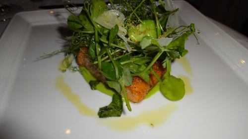 Black Pepper Crusted Scottish Salmon with Fava Beans, and Pea Tendrils.