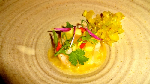 Scallop Ceviche with Compressed Melon and Green Tomato Relish.