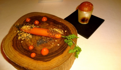 Foie Gras Carrot with Hazelnuts and Pan Brioche.