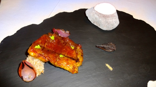BBQ Eel with Spelt, Onions, and Carpione Sorbet.