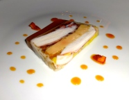 Octopus and Foie Gras Terrine with Orange Sauce.