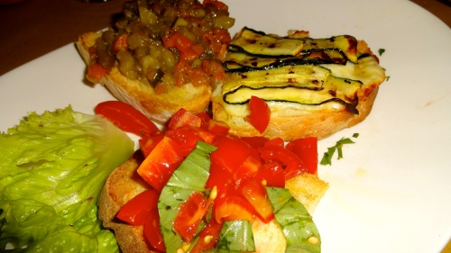 Mixed Vegetable Crostini.
