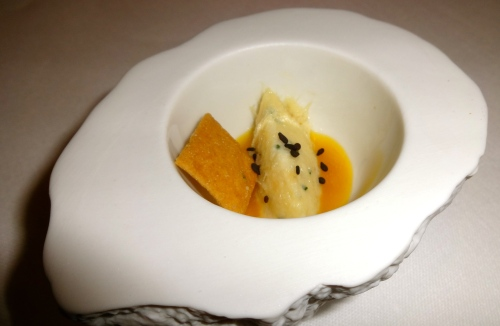 Amuse Bouche: Creamed Sea Bass with Passion Fruit Sauce.