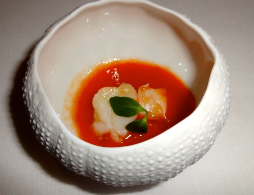 Amuse Bouche: Gazpacho with Raw Shrimp.
