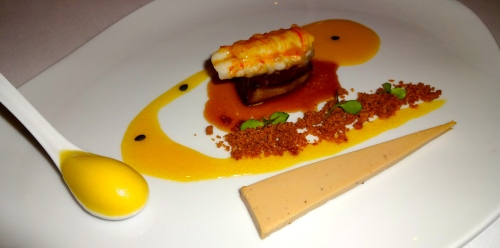 Langoustine with Foie Gras, Pâté, Crumble, and Passion Fruit Sauce and Sorbet.