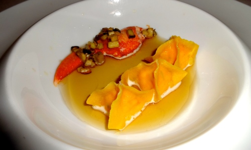 Ravioli with Lobster and Porcini Mushroom Broth.