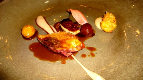 Squab Breast and Leg with Goose Liver, Grapes, and Chestnut Cream.