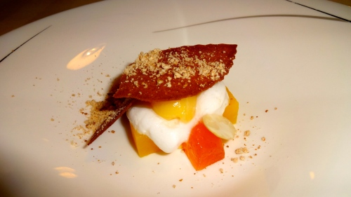 Pre dessert: Compressed Persimmon with Lychee Foam and Mandarin Gelato.