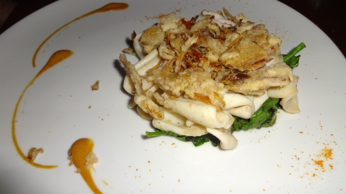 Calamari with Fried Artichokes and Spinach.