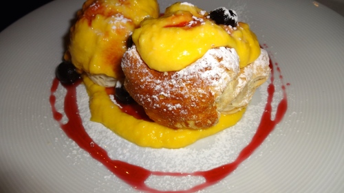 Millefoglie Beignets with Pastry Cream and Amarena Cherries.