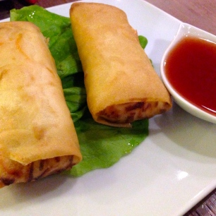 Vegetable Springroll with Sweet and Sour Sauce.