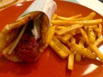 Greek Sausage Pita with French Fries.