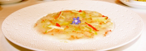 Langoustine Carpaccio with Citrus and Coral Gelée.