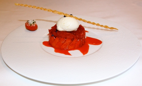 Strawberry Fraisier with Strawberry Granita and Ivory Chocolate Sorbet.