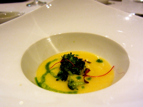 Amuse Bouche of Cauliflower Polenta and Broccoli.