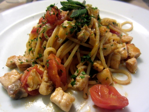 Spaghetti with Swordfish and Tomatoes.