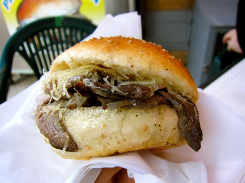 Typical Sicilian Sandwich with Beef Spleen.