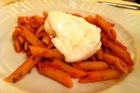 Penne with Tomato Sauce and Mozzarella di Bufala.
